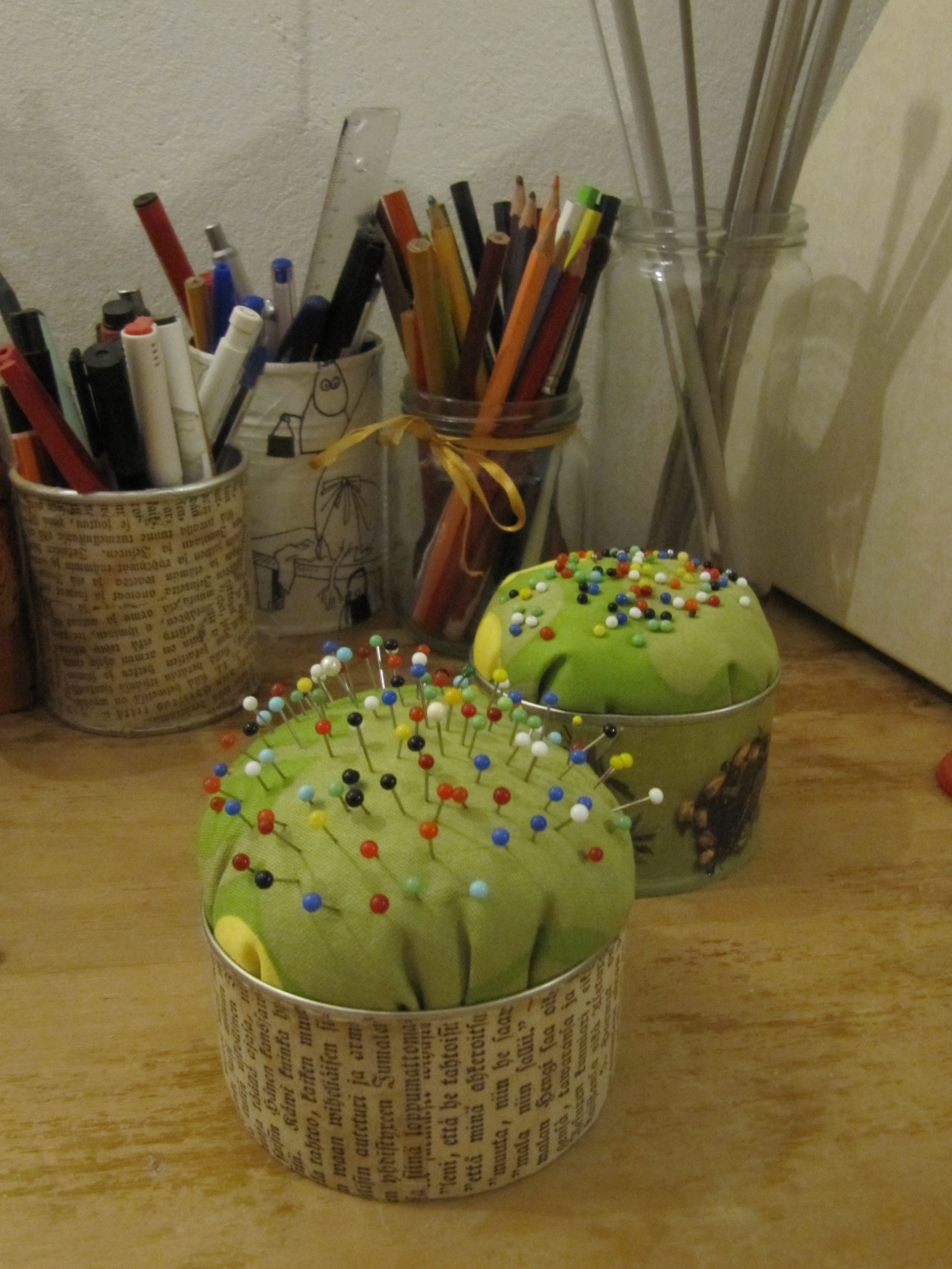 Pincushions and penholders from recycled material